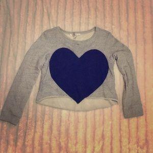 Crop top sweatshirt sweater heart casual cozy top